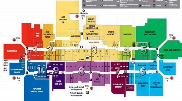 ロサンゼルスの西にある巨大な屋内型アウトレットモール  オンタリオ・ミルズ(Ontario_mills)の店内マップ